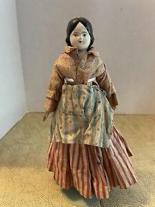 antique 19th Century Paper Mache Head Doll Unusual Clothing