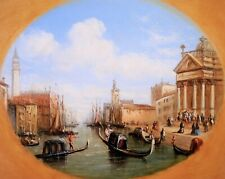 FRANCIS MOLTINO (1818-1872) SIGNED ENGLISH OIL ON PANEL - VENICE FIGURES CANAL