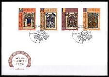 Weihnachten. Symbole der Evangelisten. Buchmalerei. FDC. Liechtenstein 1996