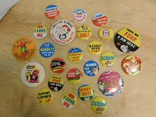 Lot of 24 Vintage Pinback Buttons Fink Mad Magazine Japan Humour Novelty