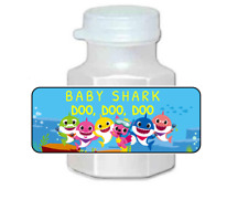 30 baby shark birthday party stickers, bubble labels