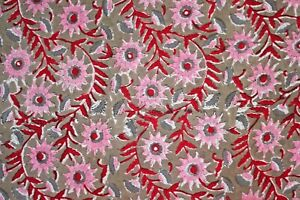 Pink Floral 100%Cotton Indian Hand Block Printed Dress Material Craft Fabric