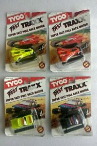 1991 Tyco FAST TRAXX Super Fast Pull Back Motor Playtime LOT OF 4 CARS New RARE