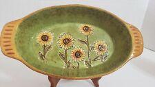 Grasslands Road Ceramic Sunflower Baking Dish Glazed Oval