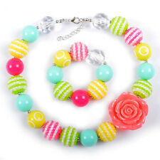 New Rose Flower Chunky Beads Bubblegum Gumball Necklace Bracelet Set Jewlery