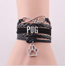 Infinity Love PUG With Dog Paw Print Charms European Leather Bracelet BLACK