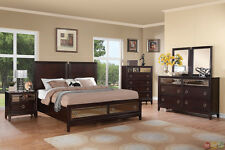 cherry bedroom set. Williams Contemporary Cherry King Storage Bed Mirrored Drawers 4 pc Bedroom  Set Sets eBay
