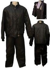 VTG 80s Bombardier Ski Doo Leather Snowmobile Motorcycle Suit Suspender Jacket M