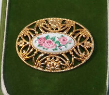 Vintage Cameo Style Rose Flower Bouquet Gold Filigree Floral Brooch Pin 4h 38