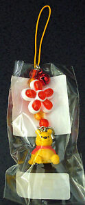 Japan Disney Store~Pooh With Flower Phone Strap