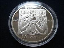 "MDS UKRAINE 10 HRYWNJA 2002 PROOF ""SCHWIMMEN OLYMPIADE ATHEN 2004"", SILBER  #1"