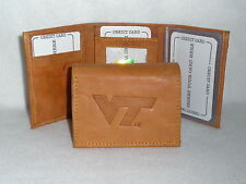 VIRGINIA TECH HOKIES Leather TriFold Wallet  NEW  tan z