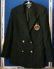 EUC Ralph LAUREN Double-Breasted BLAZER w.LOGO & Brass Buttons BLK Sz 8 USA Wool