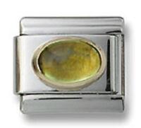 Italian Charm Simulated Peridot Stone Oval 9 mm Stainless Steel Bracelet Link