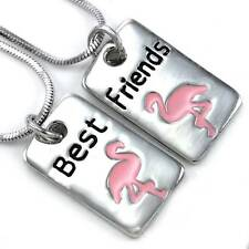 Pink Flamingo Bird Best Friend Forever BFF Necklace Pendant Animal Lover Dog Tag