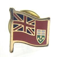 Vintage Ontario Flag Enamel Pin Lapel Butterfly Push Back Souvenir Canada T435