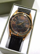 Honora Collection Bronze & Mother of Pearl Watch Black Strap Roman Numeral Dial