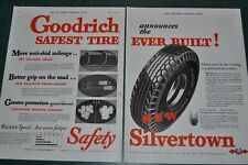 1932 GOODRICH TIRE 2-page advertisement, B. F. Goodrich Silvertown tire