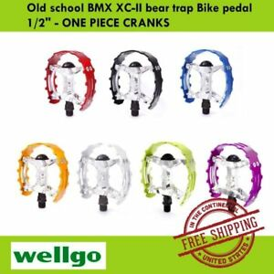 "Wellgo Old school BMX XC-II bear trap Bike pedal 1/2"" - ONE PIECE CRANKS"