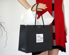 SAKS FIFTH AVE Black & White Paper Shopping GIFT Tote BAG w/Tissue Paper New