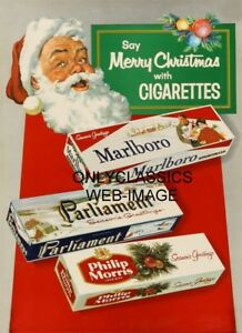 SANTA CLAUS SAY'S MERRY CHRISTMAS BY CIGARETTES VINTAGE ADVERTISING 11X17 POSTER