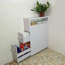 Bathroom Storage Corner Cabinet White Wood Space Saver Shelf Toilet Sideboard