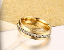Womens Mens Ladies band Ring 18K Gold plated wedding ring size 6 T2