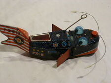 Tin 1950's SPACE WHALE PIONEER PX-3 Space Ship, ORIGINAL tin windup