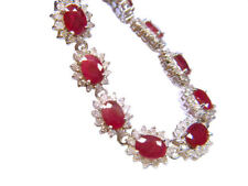 20.09ct Ruby & Diamant Armband in 14K Weißgold
