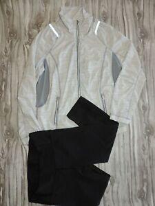 LOT OF 2 Lululemon Gray Reflective Jacket Mesh Back & Wunder Under Capri Pant 4