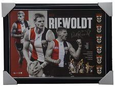 Nick Riewoldt Signed St Kilda Retirement Print Framed + AFLPA COA + Medallions
