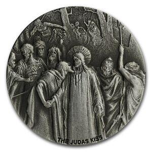 2020 Biblical Series The Judas Kiss 2 oz .999 Silver Antiqued Coin W/OMP/COA