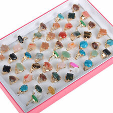 Wholesale bulk lots 10pcs gold plated assorted natural stone Agate Rings jewelry
