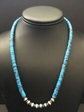 Native American Sterling Silver Blue Turquoise Bead Necklace.18 Inch