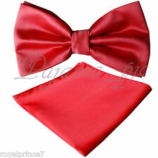 New Men Fire Red Butterfly Bow tie And Handkerchief Set Wedding Prom BT100O