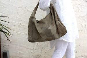 Authentic Bottega Veneta Taupe Gray Hobo Intrecciato Large Shoulder Bag
