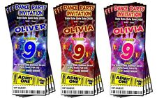 BIRTHDAY PARTY INVITATIONS Personalised Dance Red, Pink or Blue Ticket Style