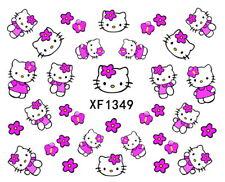 Cue Hello kitty Cat Pink Flower Water-Transfer Full Art Nail Sticker XF1349