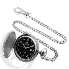 New Charles-Hubert Stainless Steel Hunter Case Pocket Watch W/ Chain 3599-B