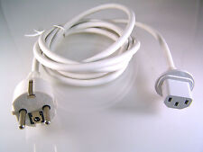 Schuko Euro Apple Mains Lead White 2 Pin Power Plug to Round Flange OL0589