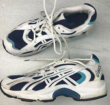 Vtg 90's Asics Women's Tennis Shoes Gel Runners White Blue Dad Shoes Tn059