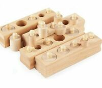 Wooden Toy Montessori Educational Cylinder Socket Blocks Baby Development Senses