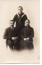 """""""1900's Sailor & Parents, Photograph Postcard"""