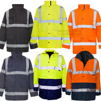 HI VIS Two 2 Tone Parka Jacket Visibility Security Work Waterproof Coat Hi Viz