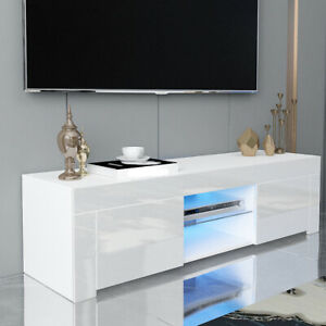 Modern White TV Unit Cabinet Stand-Matt Body&High Gloss Door  LED Light LivingRo