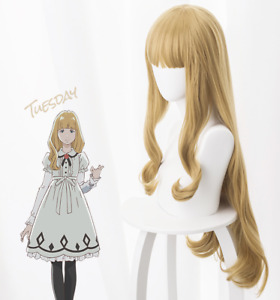 Anime CAROLE & TUESDAY Tuesday Light brown Cos Wig Curly Hair with Free Wig Net