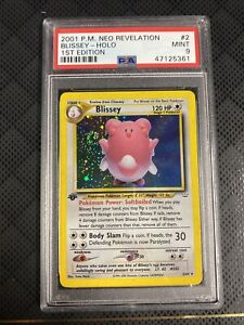2001 Pokemon Neo Revelation SWIRL 1st Edition Holo Blissey 2/64 PSA 9 NM - MINT