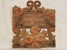 Antique Heavily Embossed Diecut Calendar Topper Wall Pocket Decor God Bless Home