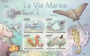 Burundi 2011 Souvenir sheet #896 Fish and Marine Life (Set of 4) - MNH