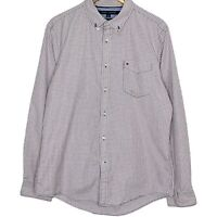 Tommy Hilfiger 80s 2 Ply Long Sleeve Button Up Check Mens Shirt Size Large